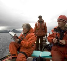 Marine researchers on boat